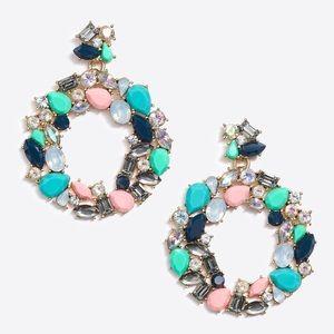 J. Crew Gemstone Wreath Statement Earrings